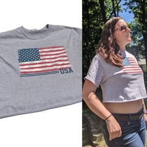 USA Crop Top 4th of July Graphic Tee Size Medium